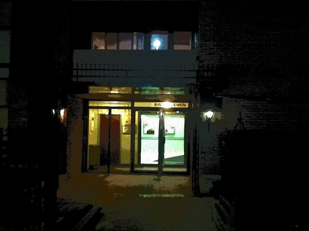 The entrance to my apartment building. Sometimes coming home depresses me, some nights I am extremely lonely. But other nights I am relieved to get back here to my own space and have some time to myself. You can't have it both ways, I guess. For the most part, I can live with myself.