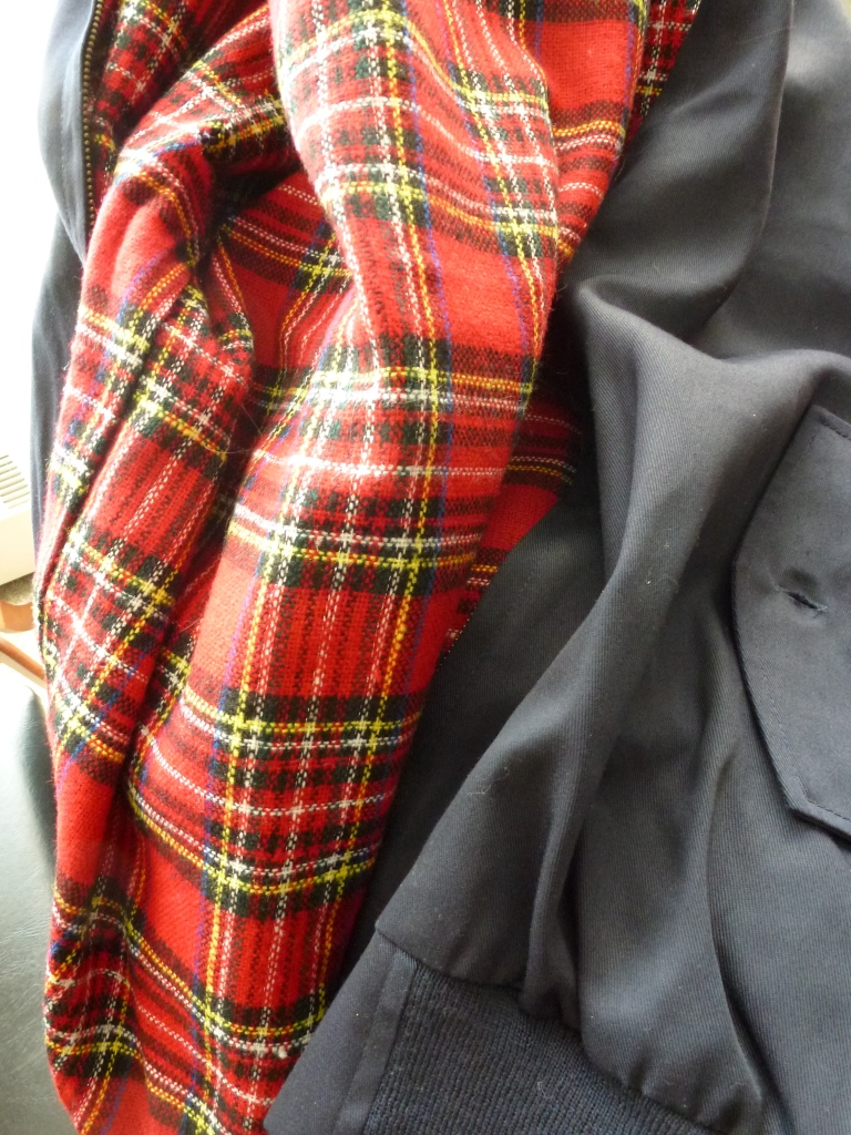 The fabulous tartan lining of my new jacket!
