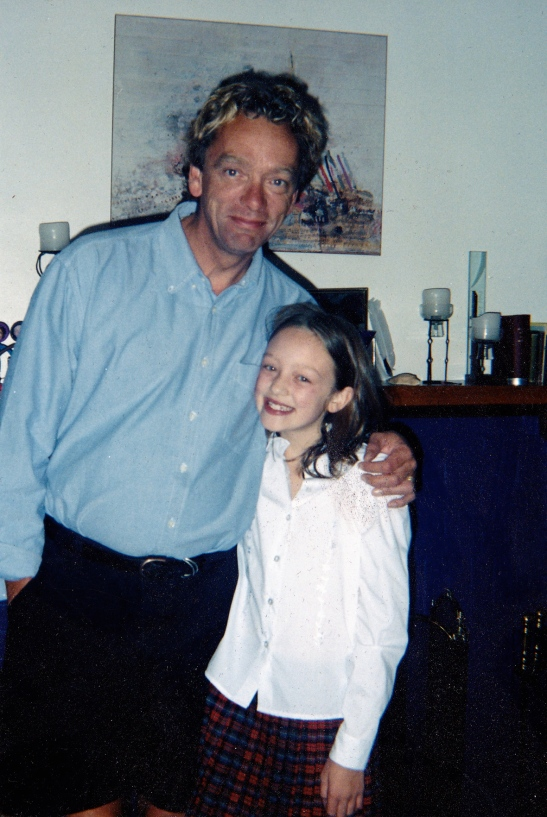 Dad and daughter back in the day, looking a tad preppy!