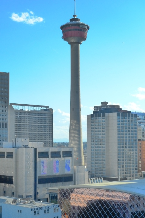 An arty shot of downtown Calgary. The Calgary tower was originally known as the Husky Tower, emblematic of the importance of the oil and gas industry to the city.