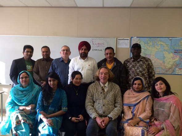 My students who come from (clockwise from top left)  Bangladesh, Nepal.Syria, India, Egypt, Nigeria, Pakistan, Pakistan, (me from Saskatchistan), Mongolia, Bangladesh and Pakistan.