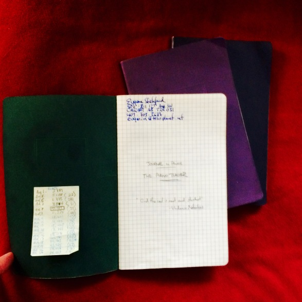 The three notebooks I wrote the first draft of The Piano Teacher in, and the first page. Such a long journey.